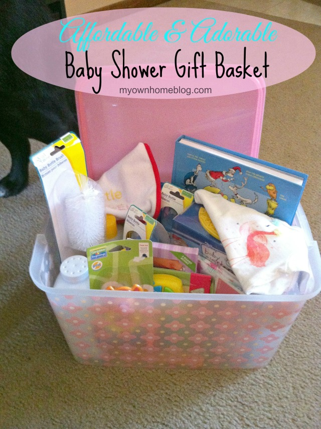 Affordable and Adorable Baby Shower Gift Basket at myownhomeblog.com